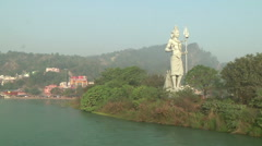 Pan very WS of Haridwar, India Stock Footage
