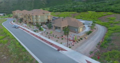 Aerial view of apartment complex in the mountains. Stock Footage