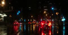 Night Highway Driving Car in Rain New York City 4K Stock Video Stock Footage