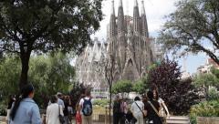Tourists at Sagrada familia - stock footage