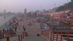 Zoom WS of piligrims on Haridwar embankment; Haridwar, India Stock Footage