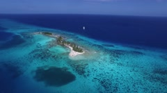 Arial shot tropical island Belize - stock footage
