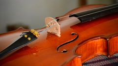 Placing strings to a classical violin in luthier workplace Stock Footage
