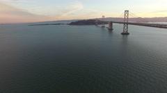 4K Aerial drone shot San Francisco along bay bridge boat cars Arkistovideo