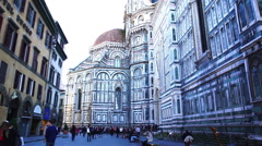 Cathedral of Saint Mary of the Flower in Florence Stock Footage