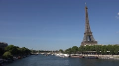 4K Eiffel Tower in Paris, Boats on Seine Day View, Tourists Traveling, Traffic Stock Footage