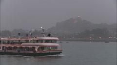 Ferry from Gulangyu Island, Xiamen, China Stock Footage
