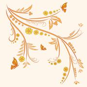 Floral ornament with butterflies Stock Illustration