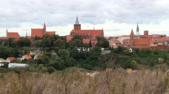 View to the medieval city of Helmno, Poland. Stock Footage