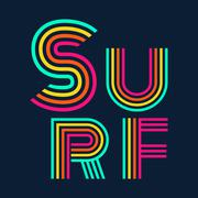 Surf typography, t-shirt graphics Stock Illustration