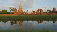 Wat Maha That ancient temple with reflection ,Ayutthaya,Thailand Stock Footage