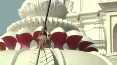 Tilt MCUS of the monastery roof in Haridwar, India Stock Footage