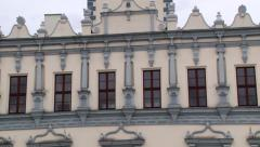 Exterior detail of the town hall building in Helmno, Poland. Stock Footage