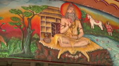 Zoom shot of wall paintings in Haridwar, India Stock Footage