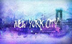 Bright colorful funky New York cityscape - stock illustration