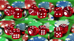 Red dices and casino chips on the green cloth background. Rotation. Stock Footage