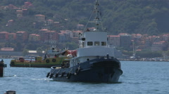 A tugboat at sea in the gulf of La Spezia Stock Footage