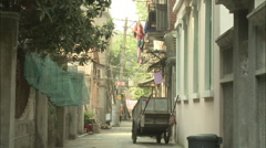 Back alley on Gulangyu Island, Xiamen, China Stock Footage