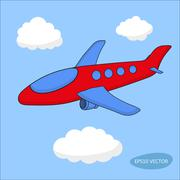 Red cartoon aircraft in clouds on blue background - stock illustration