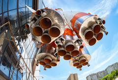 Rocket engine of Soyuz type rocket Stock Photos