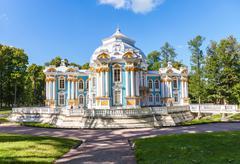 Hermitage Pavilion at the Catherine Park, Tsarskoye Selo in summer sunny day - stock photo