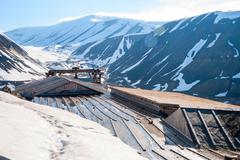Abanodoned coal mine station in Longyearbyen, Svalbard - stock photo