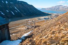 Abanodoned coal mine station in Longyearbyen, Svalbard - stock photo