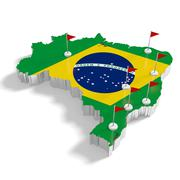 Brazil map with flags on the flagpoles showing the major cities. - stock illustration