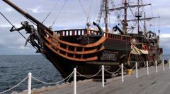 Exterior of the wooden ship tied at the pier in Sopot, Poland. Stock Footage