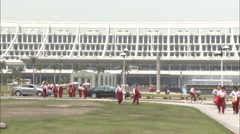 Chinese tour group, Xiamen Airport, China Stock Footage