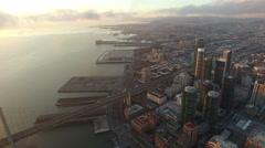 4K Aerial drone shot San Francisco forward building bay bridge clouds Arkistovideo