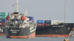 fully loaded container ship navigate in harbour,Bangkok,Thailand - stock footage