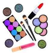 beautiful decorative cosmetics, isolated on white - stock illustration