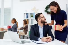 Congratulating with Christmas Stock Photos