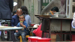 Chinese street restaurant, Xiamen, China Stock Footage
