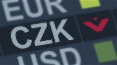 Czech koruna falling. World exchange market default. Global financial crisis Stock Footage
