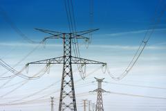 High voltage pylons Stock Photos