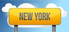 new york yellow street road sign - stock illustration