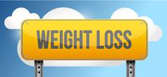 Stock Illustration of weight loss yellow street road sign