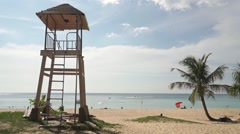 Phuket beach rescue tower at sunny day Stock Footage