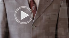 Businessman clicks play button card map business communication - stock footage
