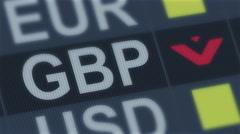 British pound falling. World exchange market default. Global financial crisis Stock Footage