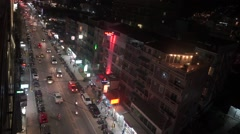 Phuket street at night. View from above - stock footage