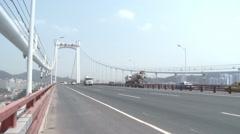 Traffic on Haicang Bridge, Xiamen, China Stock Footage