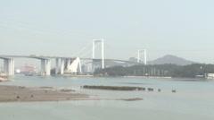 Haicang Bridge, traffic, ocean, Xiamen China Stock Footage