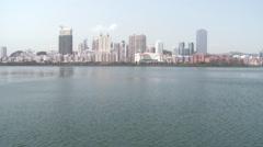 Xiamen City Skyline, Yundang Lake, China Stock Footage