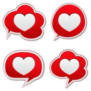 Red speech bubbles with heart icon Stock Illustration