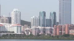 Xiamen, modern Chinese city, skyline Stock Footage