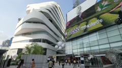 Modern architecture at EM quartier with advertisement screen,Bangkok,Thailand - stock footage