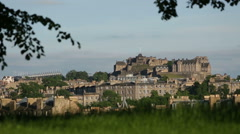 Shot of Edinburgh castle from Inverleith park in Edinburgh. Stock Footage